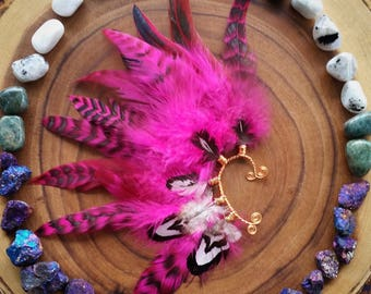 Feather Earcuff, pink feather ear cuff, grizzly feather, feather earring,  ear wrap, edm, edc, carnival, ear jacket