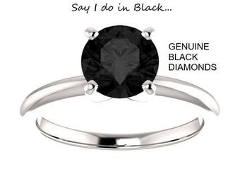 14K Gold 1.00 Carat Ideal Cut Round Brilliant Genuine Black Diamond Solitaire Ring (AAA+ PERFECT STONE)
