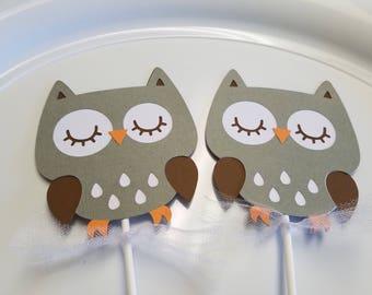 Owl centerpiece sticks, owls baby shower, owl birthday, owl decorations