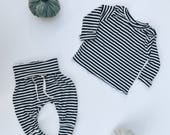 Baby Unisex shirt and pants set, Harem pants, Long sleeve tee, Modern cothes