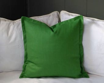 Green Pillow Cover Kelly Emerald Malachite Grass Green Linen Blend Knife Edge, Piping, or Flange 18x18 20x20 22x22 24x24 26x26  Euro Sham