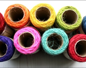 10 metres jute craft string, available in 8 colours, jute twine, biodegradable, UK seller, made in England, Everlasto, gift wrapping, rustic