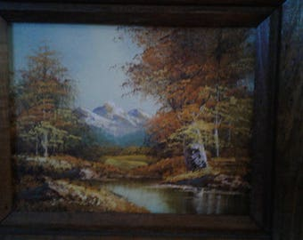 Small Oil On Board/ Fall Season/ Aspens/ Snow Capped Mountains/ Stream/ Signed Linda