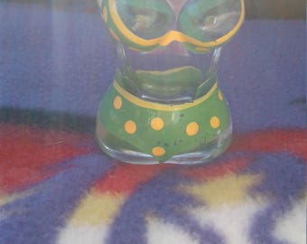 Vintage Green Poka Dot Bikini Figural Shot Glass