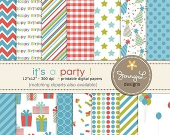 50% OFF Birthday Party Digital Papers for Digi-Scrapping, Boys Birthday, Cards, Invitations, Labels, Cake Toppers etc