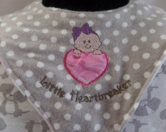 Pacifier bib embroidered applique, binky bib, binkie bib, drool bib, baby gift, reversible bib