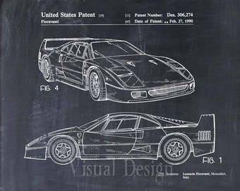 Ferrari F40 Patent Print Ferrari Patent Poster