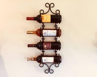 Wall mounted wine rack, wrought iron wine bottle holder, rustic wall mounted bottle hanger, wine bottle display, black wrought iron