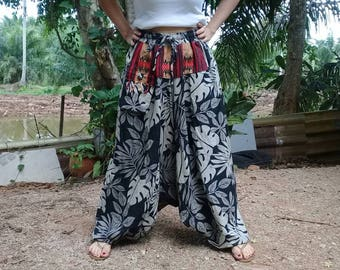 Baggy Pants Harem Ninja Pirate Hill Tribe Leaf Black Gray