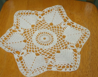 "Hand Crafted DOILY - 12"" Off White Hand Crocheted Doily"