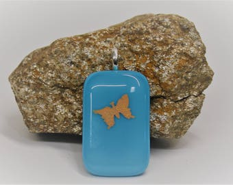 Turquoise and Silver Foil Glass Pendant, Butterfly Pendant, Fused Glass, One of a Kind Pendants