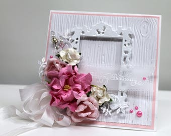 Happy Birthday handmade card, OOAK card, Pink and White Birthday Card, Flower Card