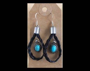Black braided horsehair hoops w/ turquoise .