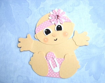 4 Adorable Baby Girl paper pieced card Toppers Embellishments for Cardmaking & Crafts Baby Showers ready made card toppers