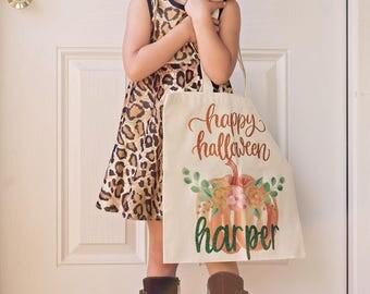 Personalized Halloween Bag - Halloween Tote - Pumpkin Tote Bag - Custom Halloween Bag - Trick or Treat Bag - Personalized Pumpkin Bag