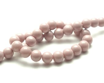 10 glass old porcelain round beads 6mm pink