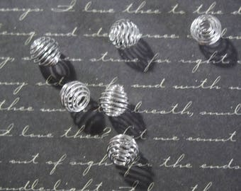 10 shiny silver plated wire cage beads 9mm