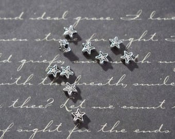 10 mini star antique silver metal 4mm beads