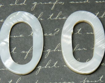 2 beads ring with mother of Pearl oval 20x30mm