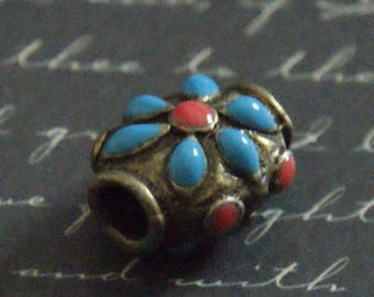 Tibetan brass and enamel blue/red 14x17mm