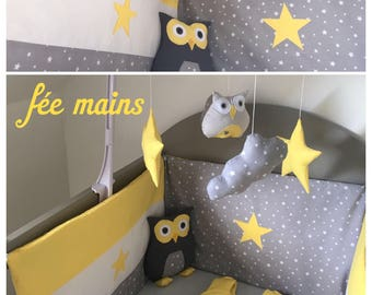 Bumper in grey cotton printed star white, yellow and White Star
