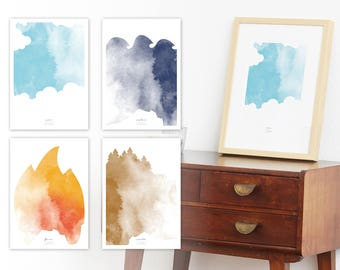Poster, Print, Print Set, Four Elements, Set, Wall decoration, decoration, aquarell, art work, watercolor, air, water, fire, earth
