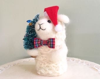 Lamb Christmas lamb needle felted lamb ornaments lamb christmas tree Santa hat felting animal felting ewe lamb figurine wool felt red green