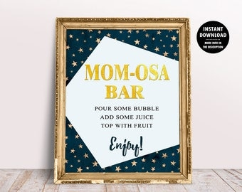 Mom-Osa Bar Sign, Twinkle Twinkle Little Star Baby Shower Decor, Decorations Boy Printable, Mimosa Bar Printable, Baby Shower Table Sign