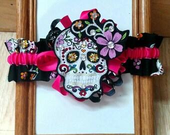 Glitzy skull theme garter