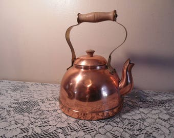 Vintage Copper Tea Kettle Made in Portugal Retro Kitchen Decor Mid Century Home Accents Upcyle Garden Planter