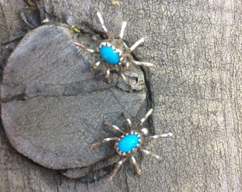 Sterling & Turquoise Spider Native American Stud Earrings