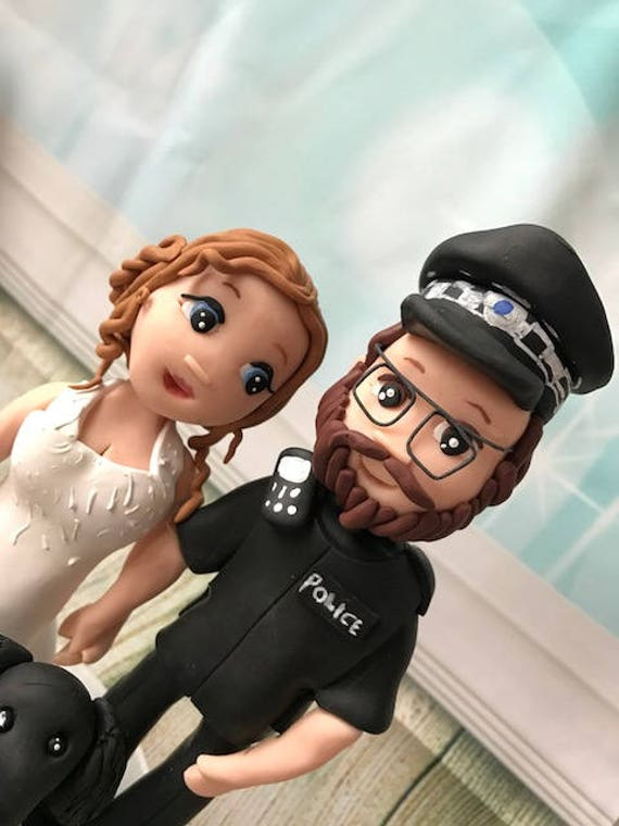 Fully personalised clay Wedding Cake Topper highly detailed and fully sculpted police Keepsake - Bespoke Premium Service