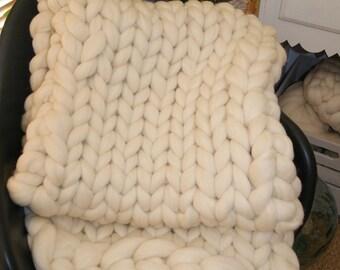 Plaid in pure Merino Wool super chuncky XXL 100% natural