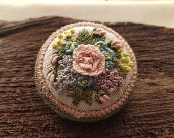 Rococo Style Brooch, Embroidered brooch, handmade brooch, vintage style, floral brooch, gift for her