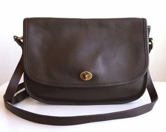 COACH Vintage Leather Chocolate City 9790 Crossbody Bag #120