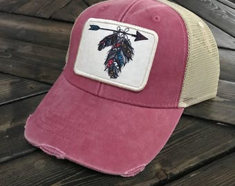 Trucker Hat - Feathers and Arrows - Boho - Chic - Gift