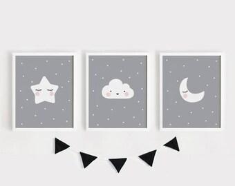 Digital prints / Star Cloud Moon Printable Nursery Art Set of 3 Poster Baby room Wall art Kids room print Gray and white decor