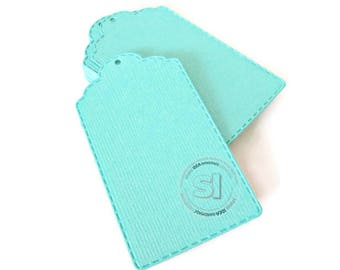 "50 Fancy Gift Tags -Teal tags-set of 50pcs, 2.75"" stiched style tags -DIY Gift Tags, Escort Tags"