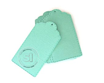 """50 Fancy Gift Tags -Mint green -set of 50pcs, 2.75"""" stiched style tags -DIY Gift Tags, Escort Tags"""