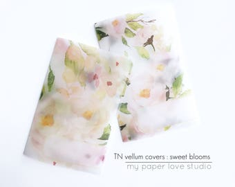 Vellum TN Traveler Notebook Covers / Planner Dashboards : Sweet Blooms