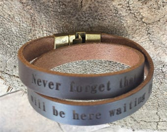 FREE SHIPPING-Wrap Personalized Bracelet For Men,Custom Wrap Bracelet,Mens Bracelet,Gift For Dad,Men Leather Bracelet,Double Strap Bracelet