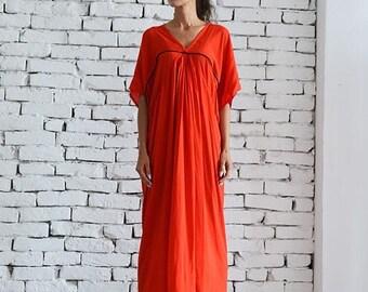SALE Red Maxi Dress/Long Loose Dress/Plus Size Kaftan/Casual Red Dress/Oversize Tunic Top/Half Sleeve Summer Dress/Viscose Dress by METAMORP