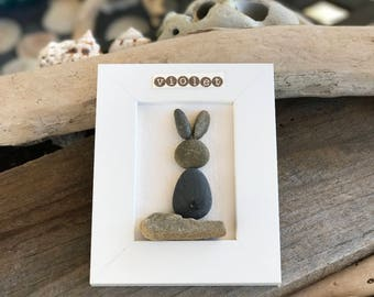 Framed Rock Bunny Art - Personalized