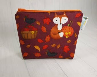 Fall Foxes Notions Pouch,  Mini Zippered Wedge Bag, Knitting Notions Pouch, Craft Pouch NP0028