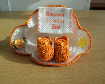 Congratulations birth or christening crochet and cross stitch gift