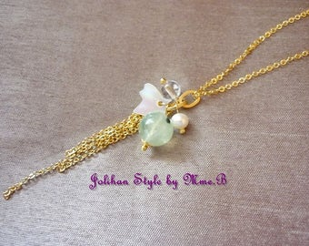 """Green Bouquet"" gold necklace with prehnite"