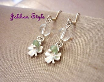 "Silver earrings ""Clover"" with Crystal"