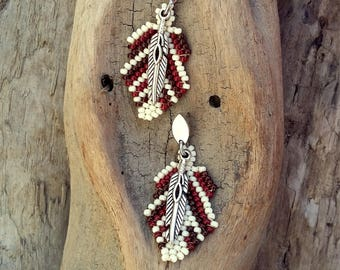Earrings handwoven, feathers, glass beads, beige and brown, Boho jewelry, By Dodie