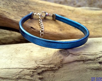 Fine Bohemian leather 1 bracelet blue link metallized jewelry By Dodie