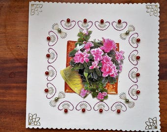 Pink flowers - hand made 3D card